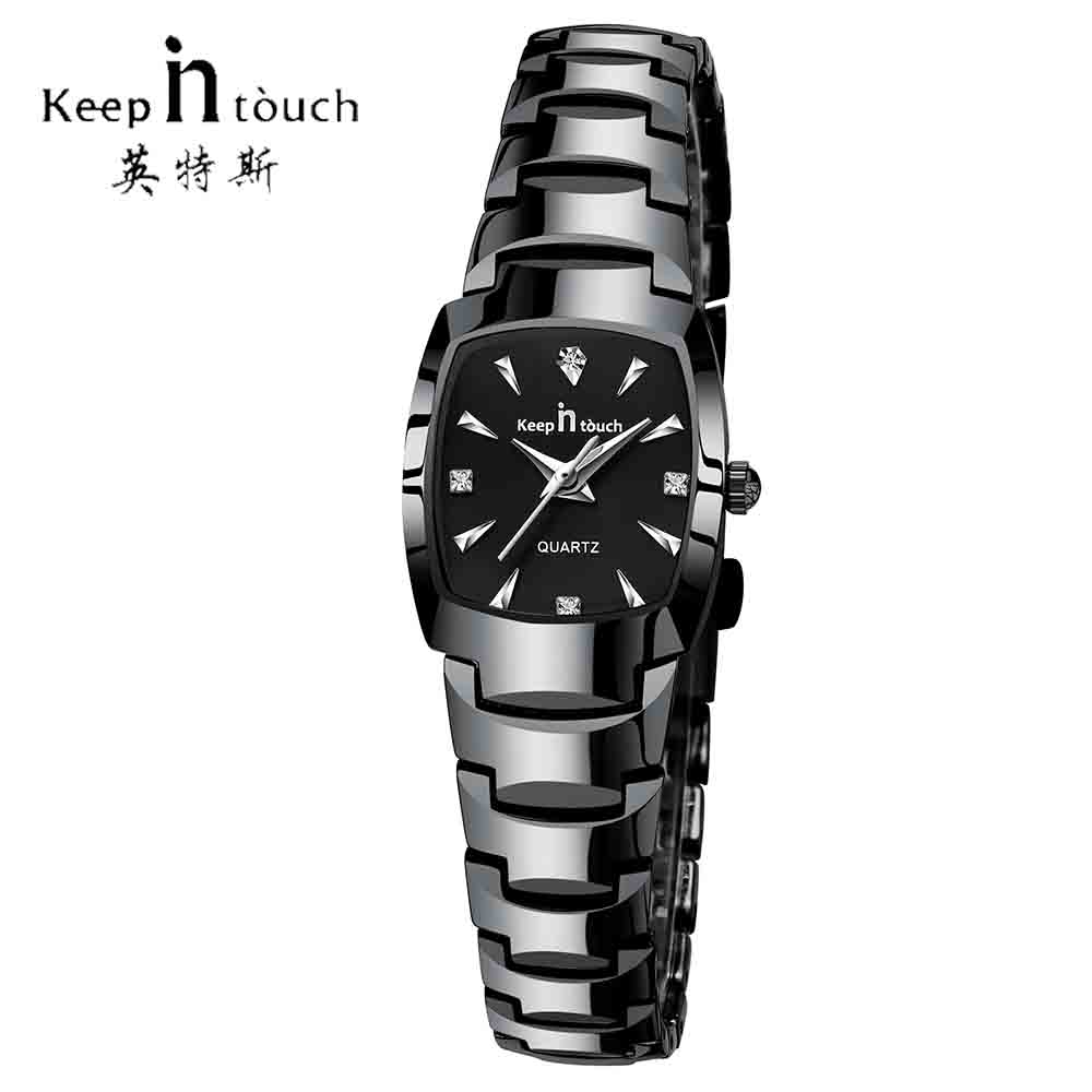 KEEP IN TOUCH Square Women Watches Rhinestone Quartz Watch Women Luxury Dress Bracelet Ladies Watch reloj mujer montre femme(China)