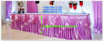 """13.1ft(W)*31.5""""(H) white ice silk lilac Tablecloth wedding table skirt banquet party table skirt with swag table cover"""