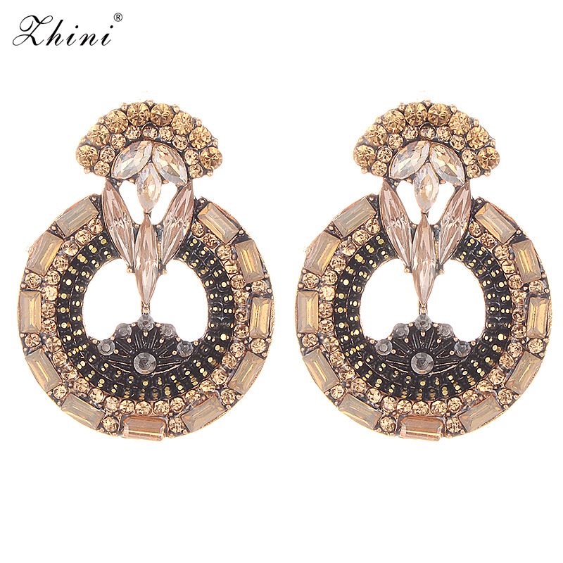 Vintage Crystal Stud Earrings For Women Trendy Wedding Party Bohemian Design Rhinestone Earrings Christmas Jewelry Wholesale