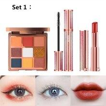 New High Quality 3PCS mixed makeup set,Fashion cosmetics kit,Magic Eyeshadow,Bright water Lipstick,Natural Soft Smooth Eyelash