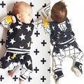 NEW Fashion Kids sets baby Boys Girls Star Hooded Sweatshirts+Plaid Harem Pants Bottoms 2pcs Outfits Set