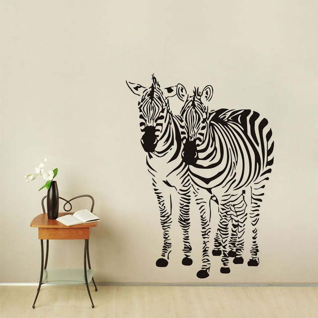 Two Zebra Wall Art Sticker Animal Silhouette Print Stripes Bedroom