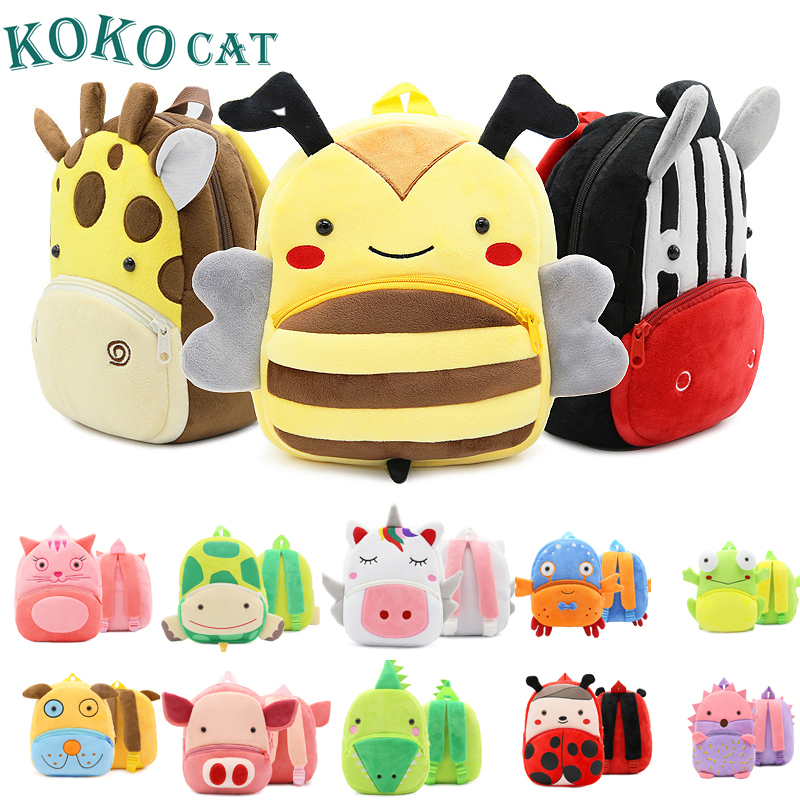 Mini Kindergarten 1-3 Year Old Toddler Book Cartoon Kid Plush Unicorn Backpack Plush Animal Children SchoolBag Girl Boy Backpack