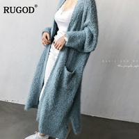 RUGOD 2108 Newest Fashion Plush Knitted Cardigans With Pockets Wild Long Cardigan Sweater Coat Cardigan Sweater Female Outwear