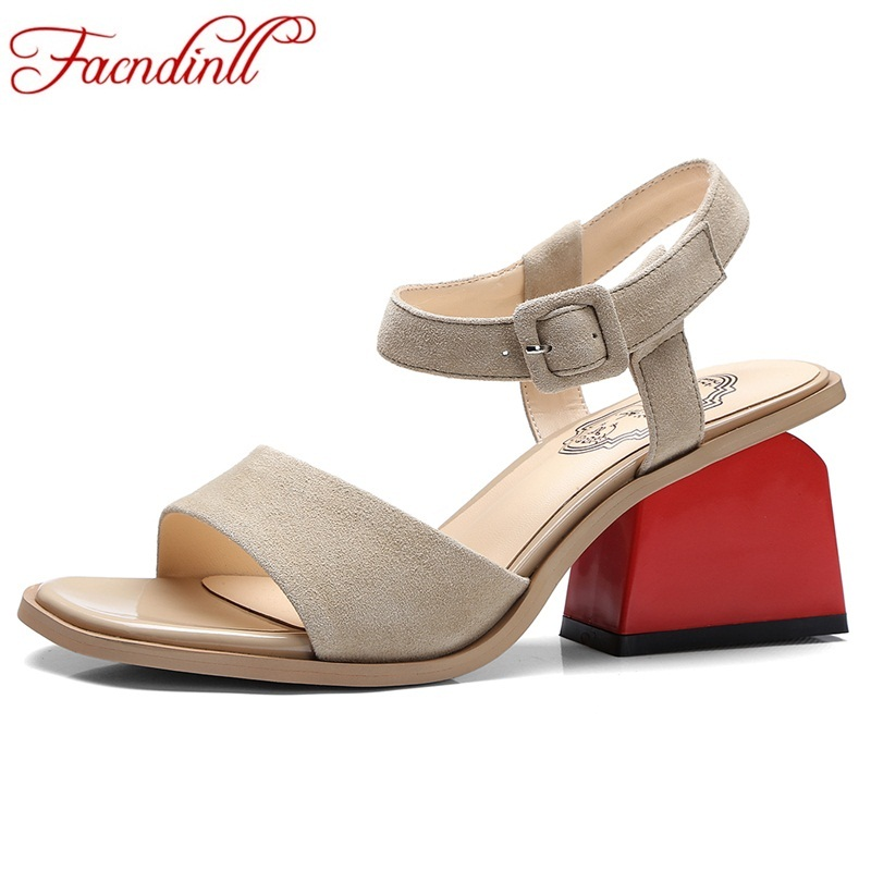 FACNDINLL 2018 new summer women sandals shoes genuine leather high heels party gladiator sandals shoes woman plush size 34-42 facndinll new women sandals genuine