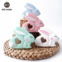 Baby Teethers Silicone Teething Toy 1pc DIY Pacifier Clips Cartoon Rabbit Newest