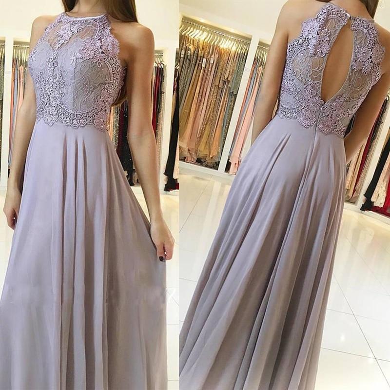 Scalloped Long   Prom     Dresses   A Line Sleeveless Key Hole Back Dusty Lilac Chiffon Evening Formal Party   Dress   Vestido De Fiesta