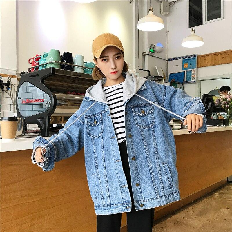 plus size women 39 s fat mm spring autumn bf wind hooded jean jacket female denim Korean jacket women tide veste femme coat women in Jackets from Women 39 s Clothing