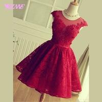 Elegant Light Wine Red Lace Short Homecoming Party Dresses Graduation Dress Mini Lace Up