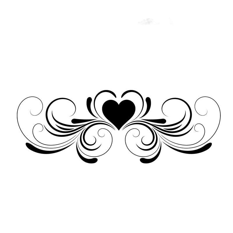 Symmetrical Swirl Flower Heart Wall Decal For Living Room