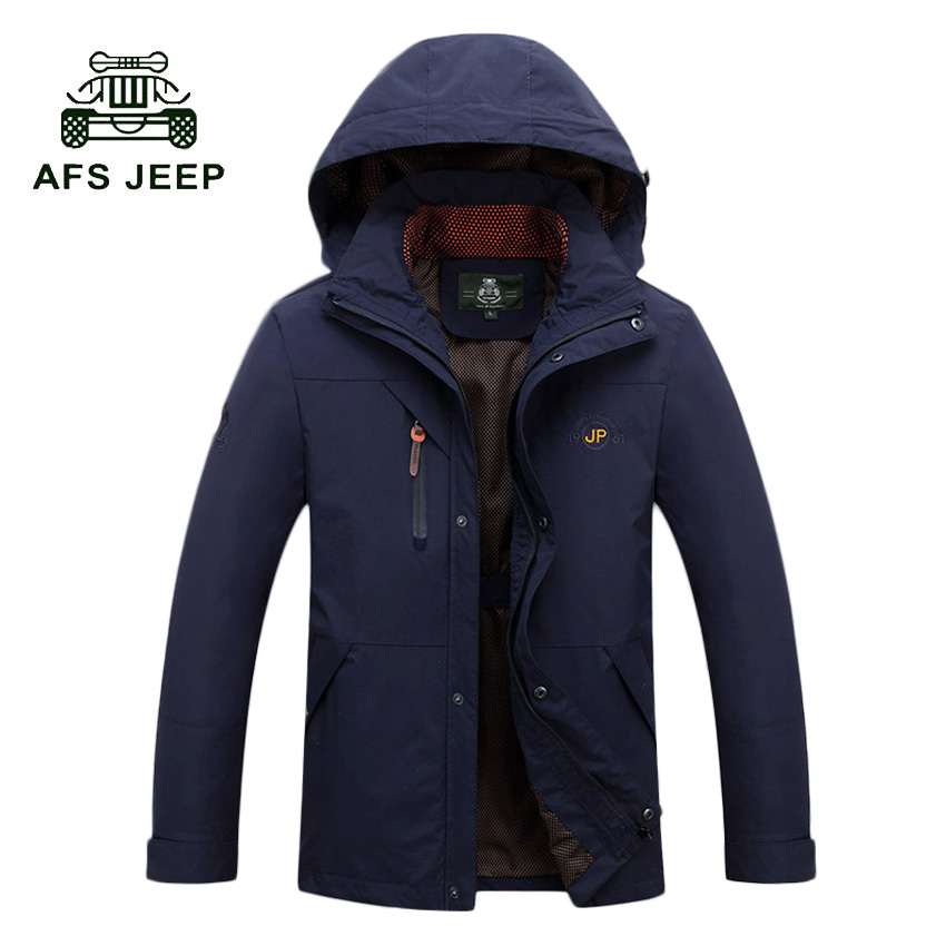 AFS JEEP 2017 Fashion Brand Jacket Men Clothes High Quality Cotton Casual Mens Jackets Coats 3 Colors Overcoat with hood 116z