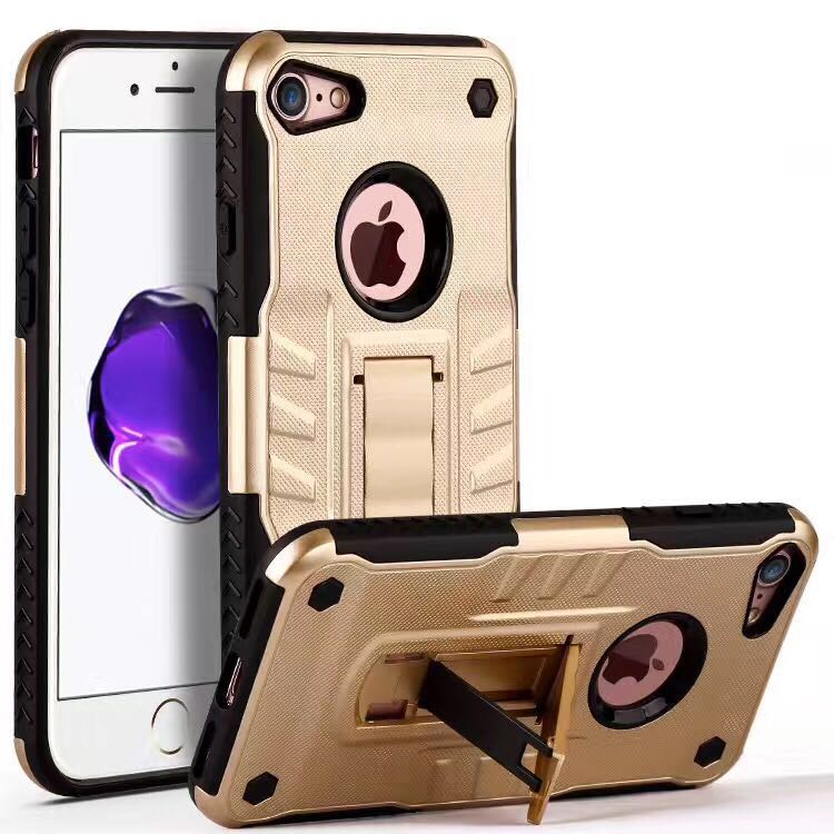 PC Armor 2 in 1 Defender Stand Holder Case For iPhone X Ten 5s 5 6 6s Plus SE 7 8plus Shockproof Silicon Case Coque Fundas