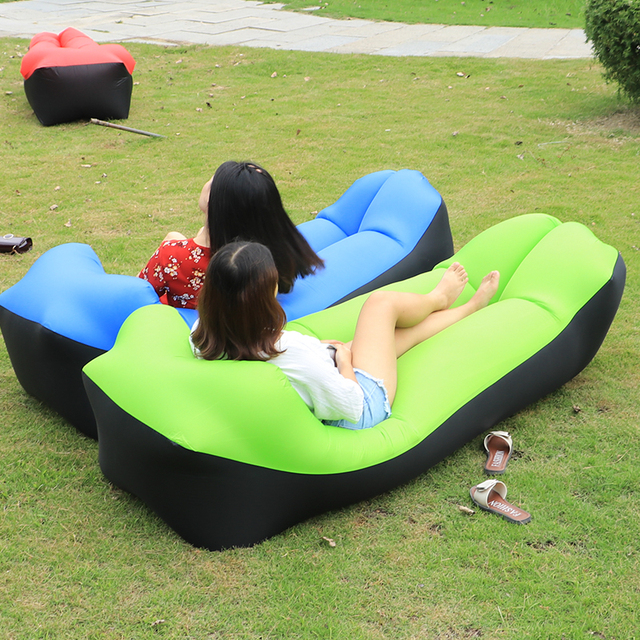 Fast Inflatable Lazy Bag Air Sleeping Camping Portable Sofa Beach Bed