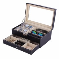Wood Watch Box Double Layers Suede Inside Jewelry Storage Box Watch Display Slot Container jewelry Organizer Casket For Decor