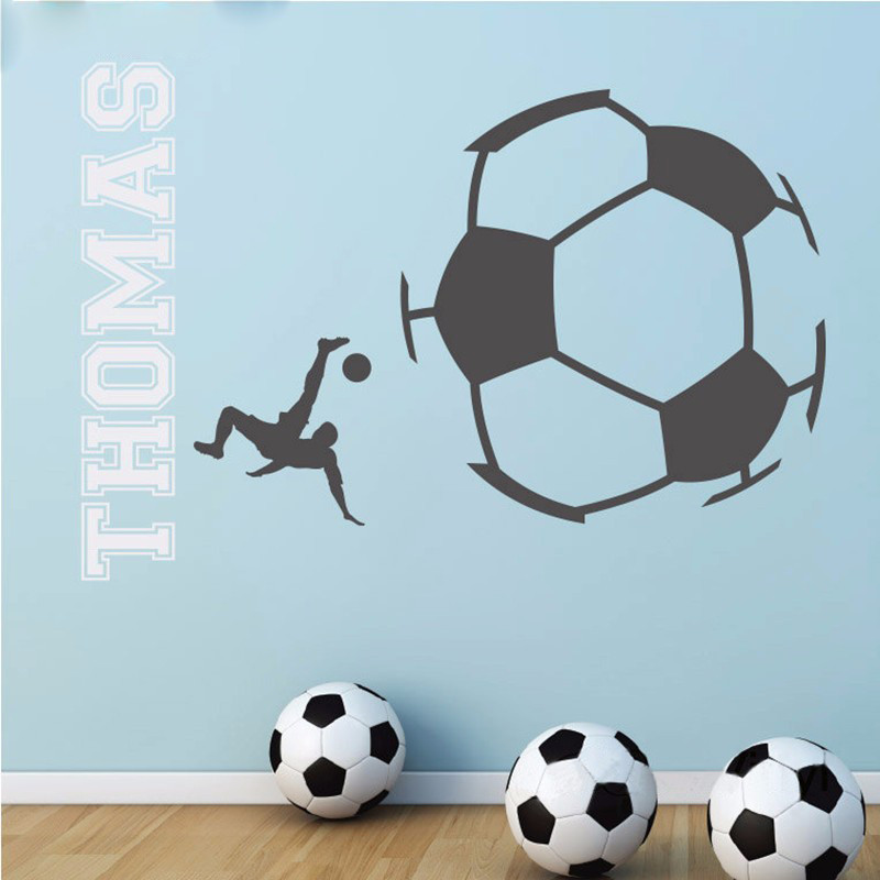 T Eco Friendly Custom Name Vinyl Wall Sticker Soccer Wall - Custom vinyl wall decal equipment