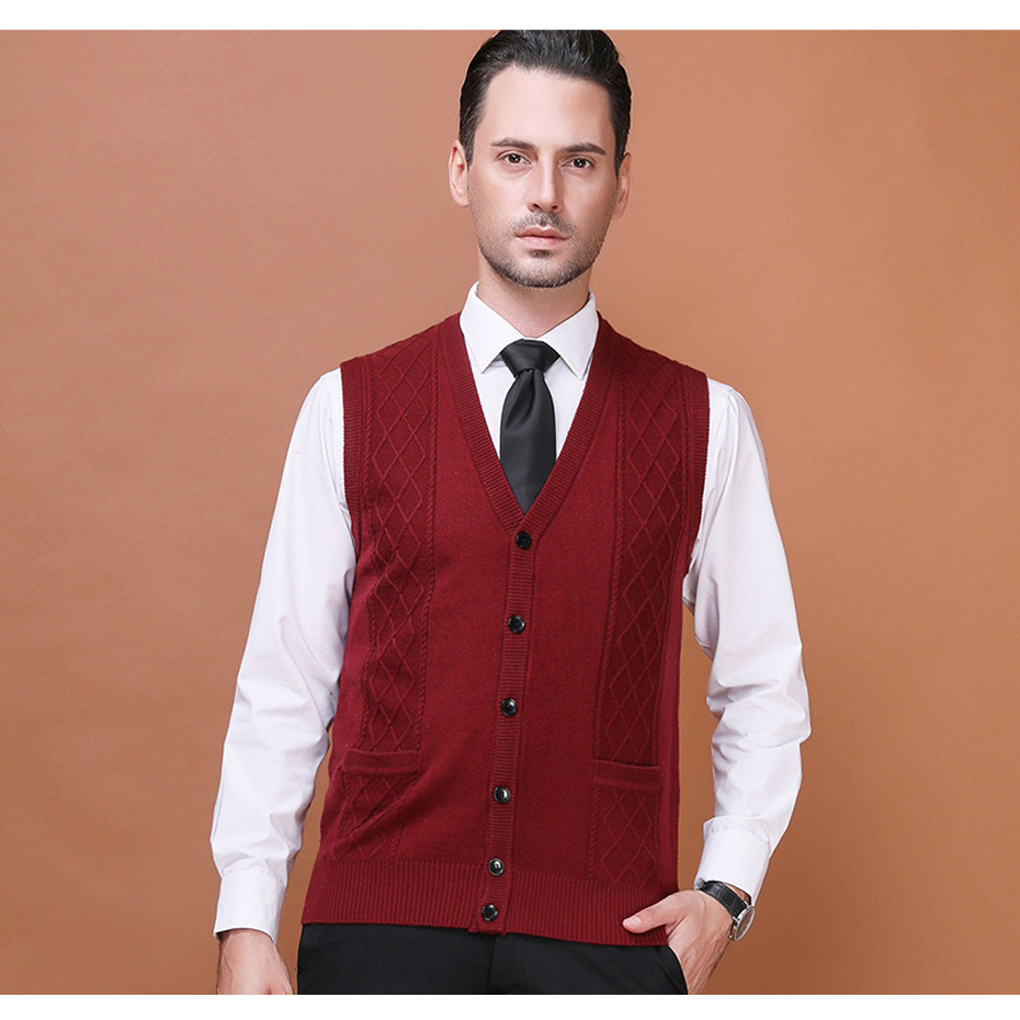 Men's Wool Sweater Cardigan Sleeveless Buttons Down Basic Knit Vest Casual Fashion V Neck Solid Color for Autumn Winter 2017K-7