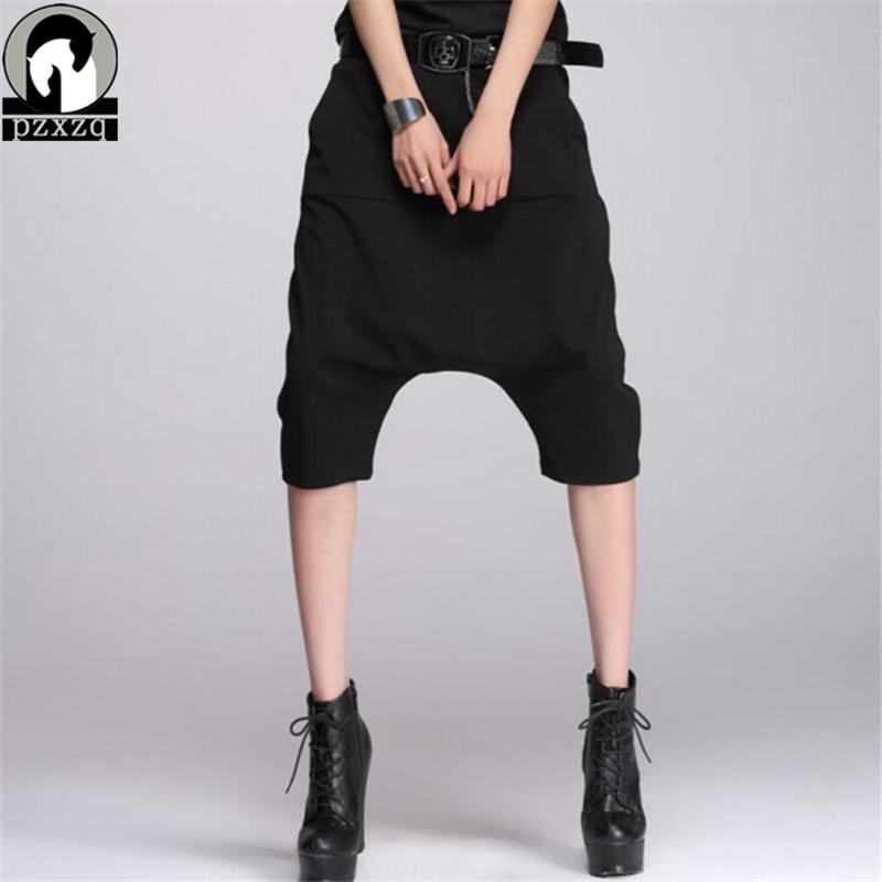 2016 Free Shipping Summer Design Women Hip Hop Casual Knee Length Loose Mid Waist Elastic Cotton Harem Black   Capri     Pants