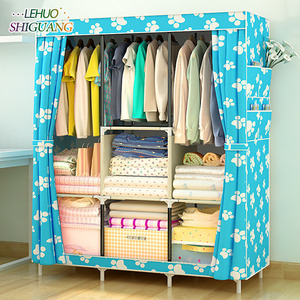 Image 3 - Simple Wardrobe Non woven Steel pipe frame reinforcement Standing Storage Organizer Detachable Clothing Closet Bedroom furniture