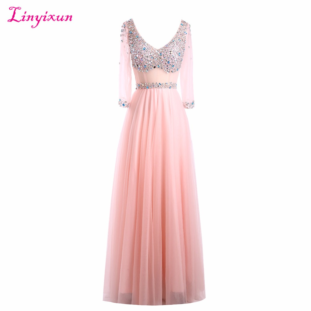 Linyixun Real Photo Modest V Neck Tull   Prom     Dresses   With Long Sleeves 2017 Beading Sheer Long Party   Dress   Formal Evening Gowns