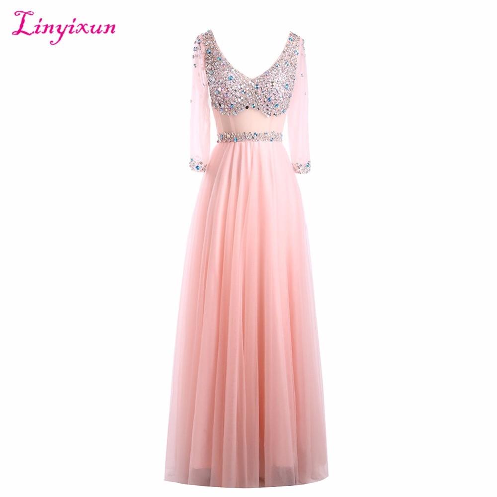 Compra largo vestidos de baile modesto con mangas online al por ...