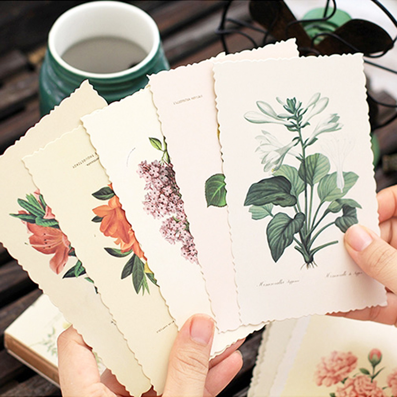 30 Pcs/lot Vintage Herbage Plant Greeting Card Postcard Birthday Letter Envelope Gift Card Set Message Card