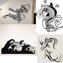 29 Designs Carp Koi Fish Wall Sticker Asian Style Vinyl Decal Orient Yin Yang Home Bedroom Decor Art Mural(China)