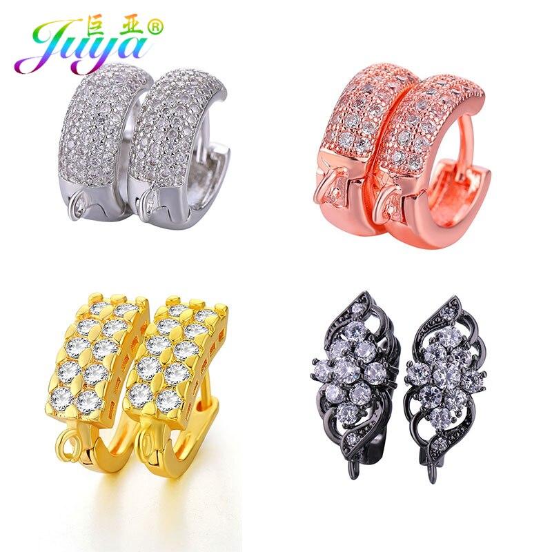 Gold Silver Rose Gold Black Fashion Copper DIY Dangel Hoop Earring Hooks Fastener Clasps ...