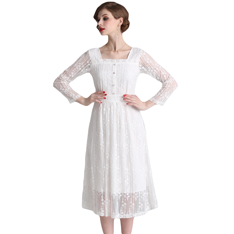 Bottoming lace dress spring female 2019 new retro small fresh lantern sleeves white long dresses first love Dress