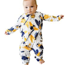 Toddler Baby Long Sleeved Cartoon Insect Zipper Romper Jumpsuit Clothes(China)