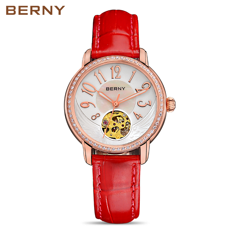 Berny Women Watch Automatic Mechanical Lady Watches Fashion Top Brand Luxury Relogio Montre Saat Feminino Bayan JAPAN MOVEMENT 2016 winner watches women lady luxury brand skeleton automatic mechanical wristwatches artificial leather band relogio feminino