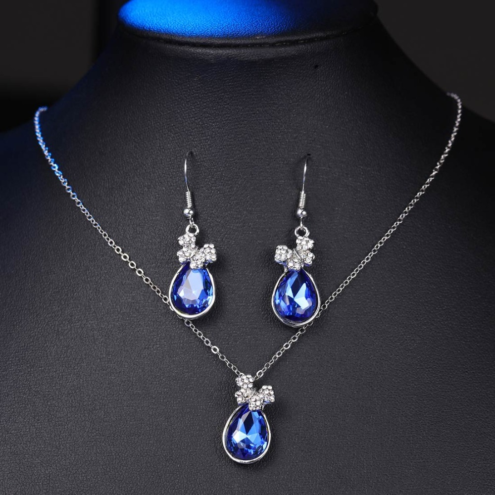 MINHIN Crystal Jewelry Sets Silver Chain Bowknot Pendant Necklace Drop Earrings Set Wedding Sets