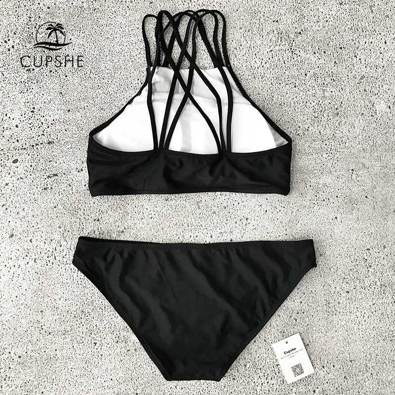 53b4ba3657b ... CUPSHE Beach Rock Halter Bikini Set Women Black And White Patchwork  Tank Two Pieces Swimwear 2019 ...