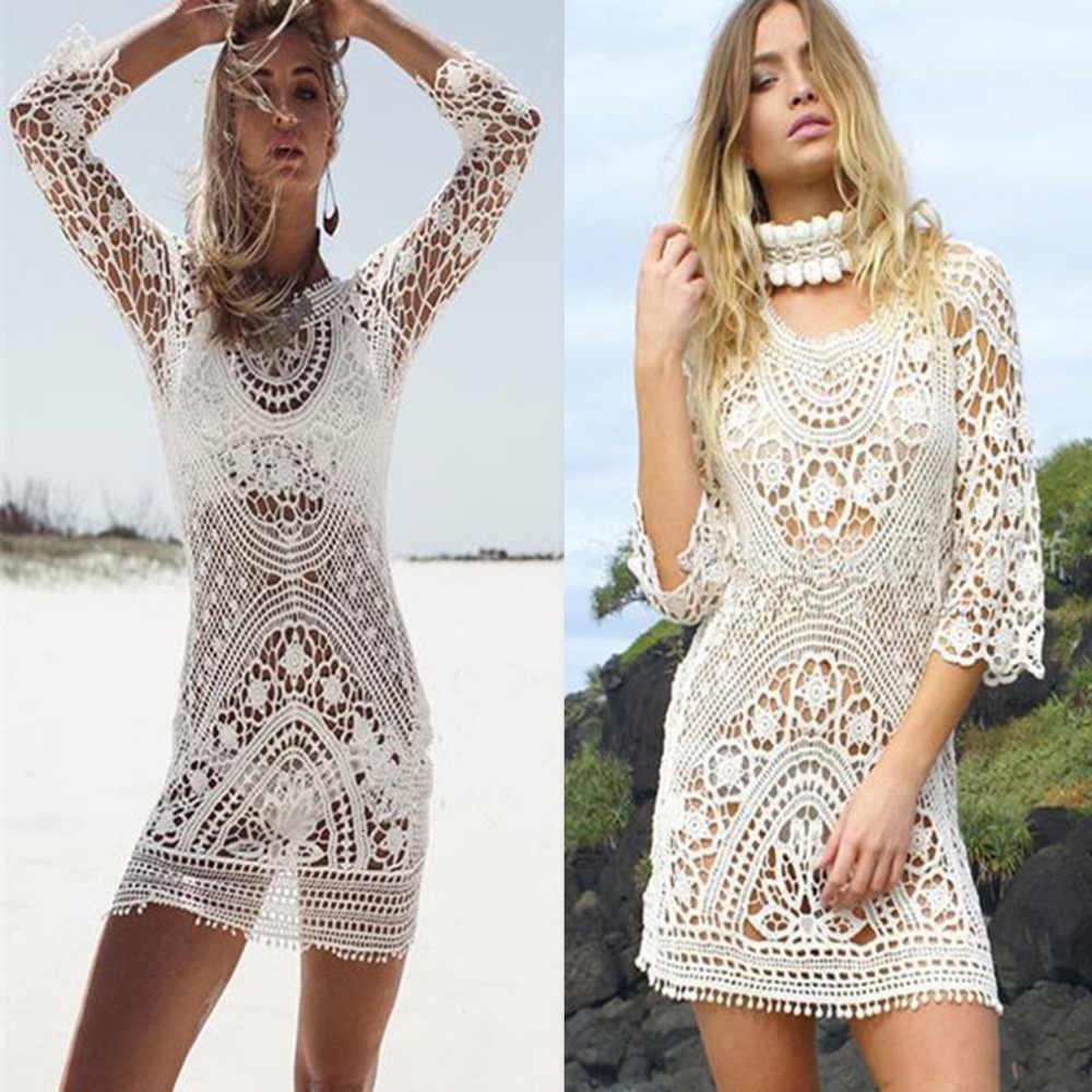 df04f9573a 2018 Sexy Ladies Women Lace Beach Wear Dress Crochet Bikini beach Cover Up  Swimwear Swimsuit saida