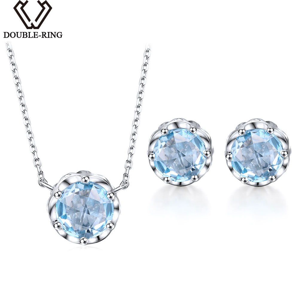 DOUBLE-R 5.83ct Naturale Topazio Azzurro Wedding Jewelry Set per Le Donne Dell'argento Sterlina 925 Rotondo di fidanzamento fine Jewelry Set