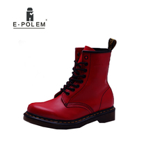 2017 New England Style Women Genuine Leather Red Ankle Martin Boots Tide Winter Fashion Women Brand Motorcycle Boots