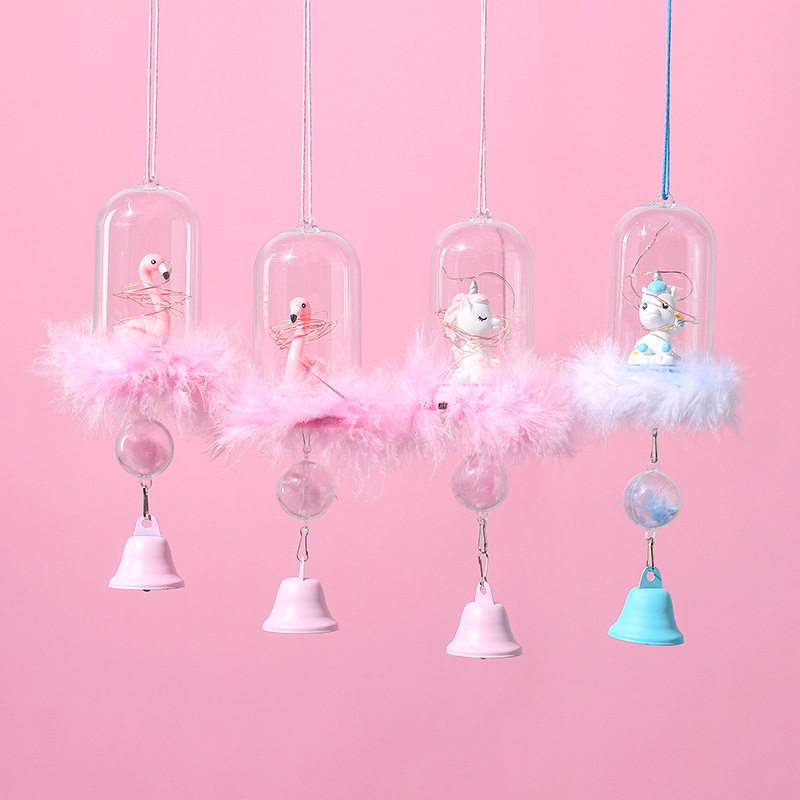 Us 9 54 42 Off Nordic Decoration Home Pink Dreamy Unicorn Flamingo Wind Chimes With Light Hanging Decorations Crafts Gifts Kids Room Decoration In
