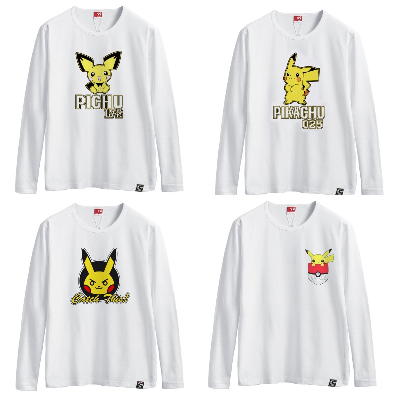 Japanese animation cartoon T-shirt with long sleeves Printed cotton long sleeve T-shirt white Pocket Monster  T-shirt Student