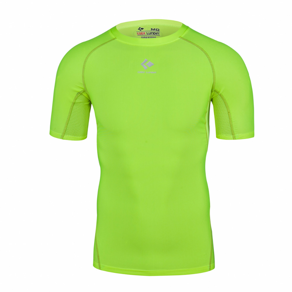 New brand clothing athletic top bright green male gym for Dress shirts for athletic guys