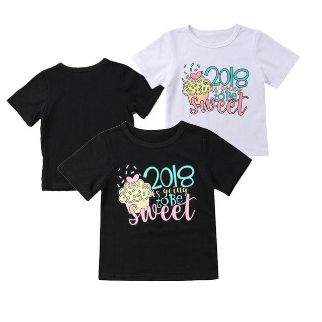 5ed2efb32 Cute 2018 New Toddler Baby Girls Graphic Tee Soft Cotton Crew Neck T-shirt  Tops Clothes