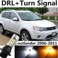 Para mitsubishi 2006-2011 acessórios outlander drl daytime running light & luz xenon branco + âmbar turn signal frete grátis