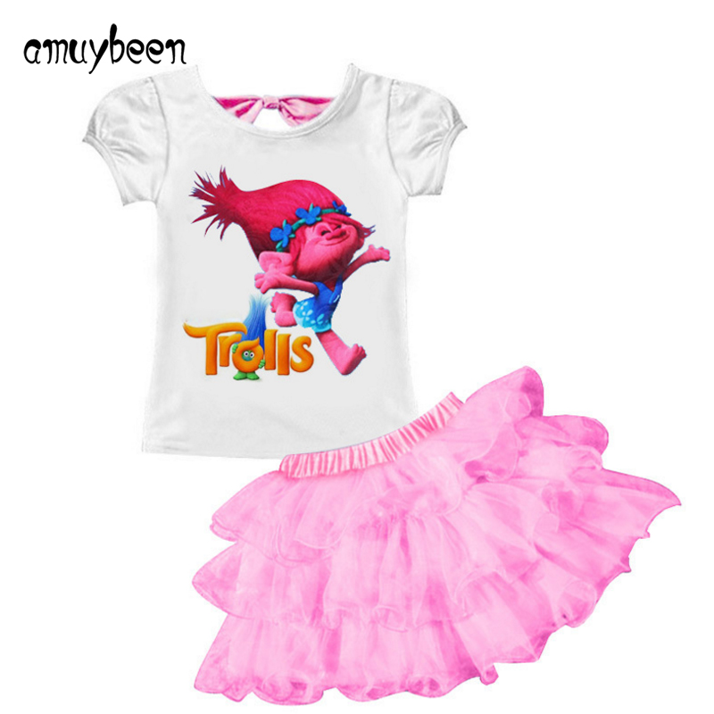 New Girls Dress Summer Short Sleeve Princess Baby Girl T-shirt+dress Cartoon Trolls Party Costume 4 5 6 Y Toddler Kids Clothes