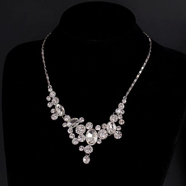 Declaração de Colares De Noiva requintado Mulheres 585 Banhado A Ouro Branco CZ Diamante Jóias Vintage Colar Collares Collier Femme ND003