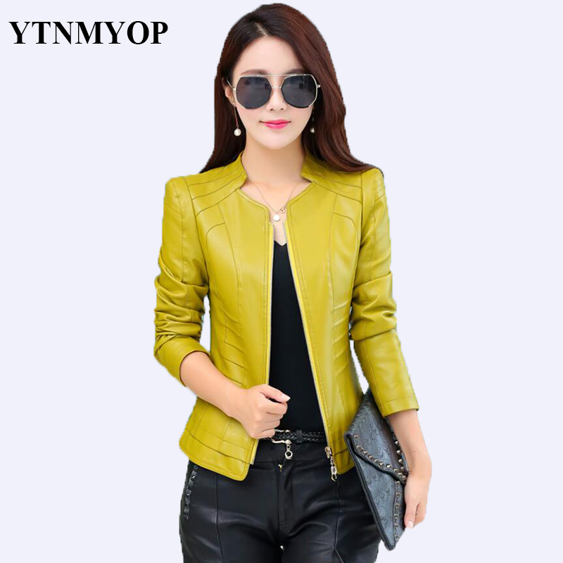 2019 Women Spring Leather Jacket Black Plus Size S 3XL Female Clothing Outerwear Mandarin Collar Long