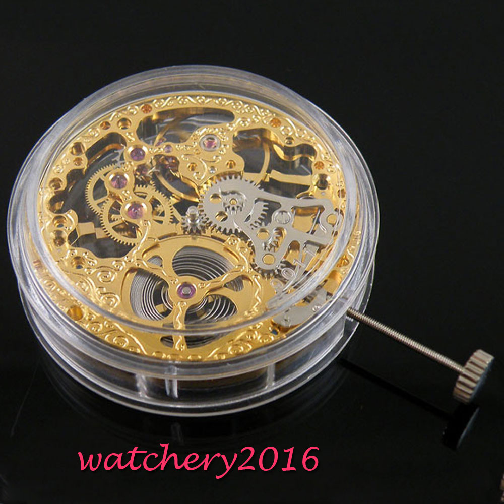 17 Jewels mechanical Gold Full Skeleton Hand Winding movement fit parnis watch цена и фото
