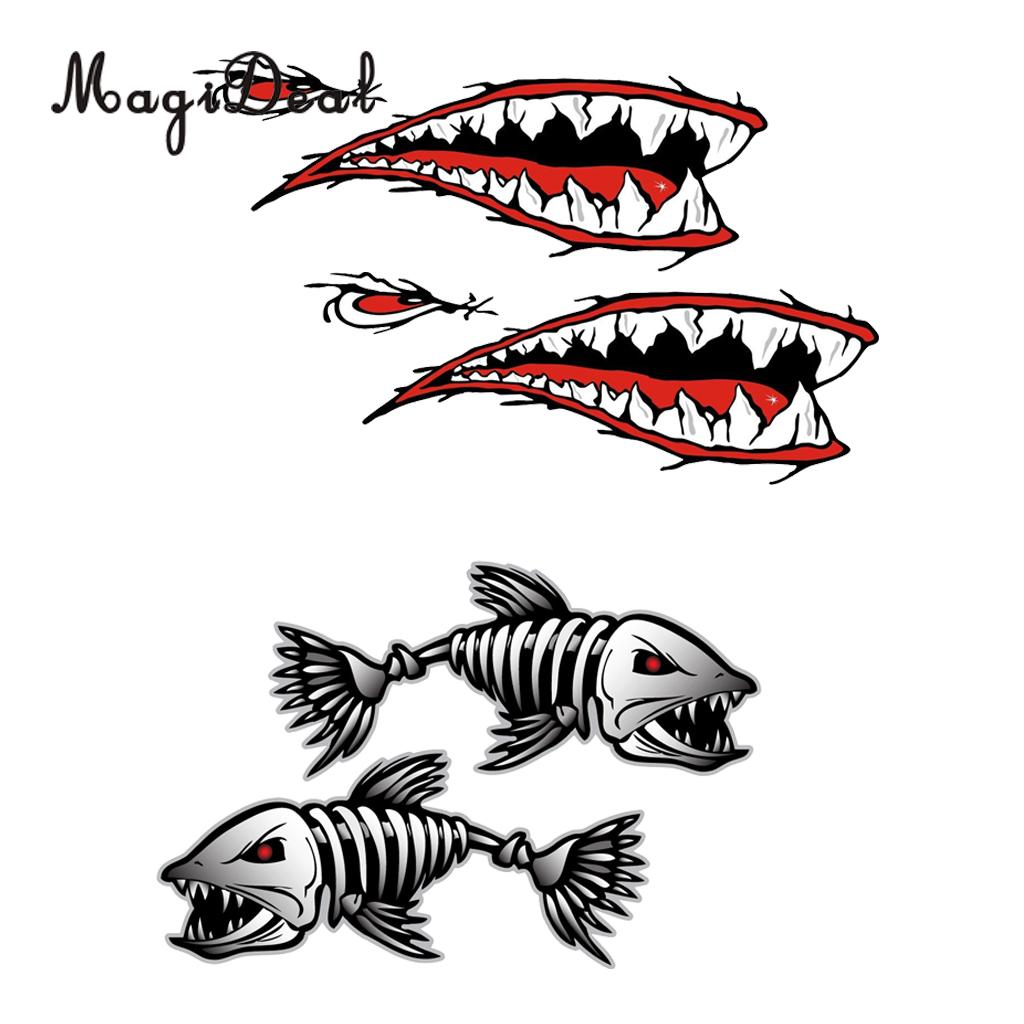 Boating Watersports 2 Pieces Skeleton Fish Stickers