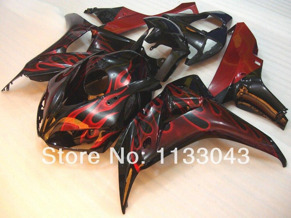 Подходит впрыска Красный Пламя белый корпус для HONDA CBR1000 06 07 CBR1000 RR 2006 2007 CBR 1000RR 06 07 oem_quality комплекты обтекателей
