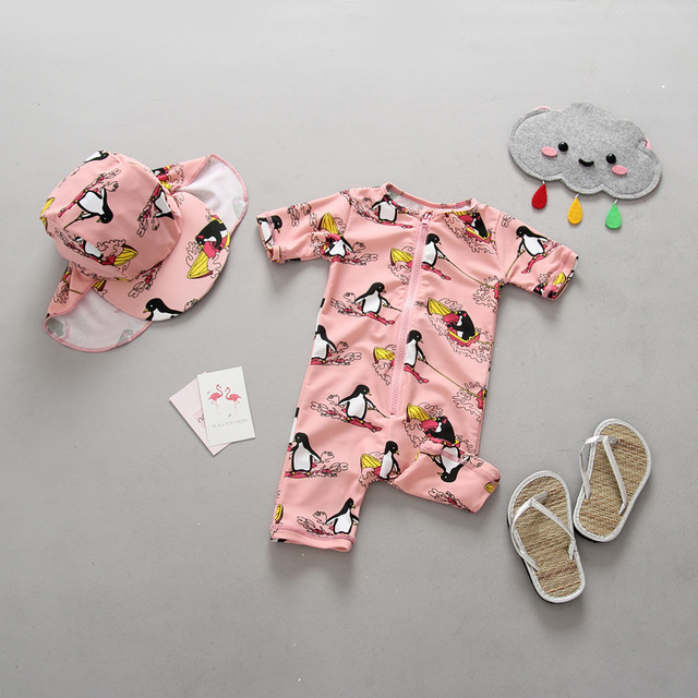 58dc79e32eb46 Girls Swimwear One Pieces Swimsuit for Children Lovely Penguin Print Zipper  Front Swimming Clothes Set Bathing