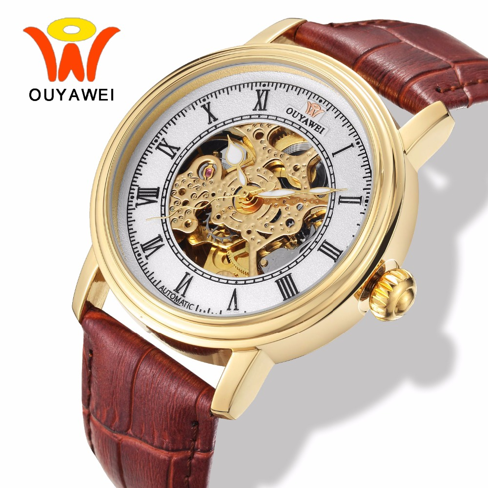 цена на Ouyawei Mens Fashion Skeleton Gold Mechanical Wrist Watches Clock Men Power Automatic Self Winding Genuine Leather Band Watch
