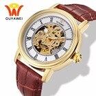 ★  Ouyawei Мужская Мода Скелет Золото Механические Наручные Часы Часы Мужчины Мощность Автоматическая С ★