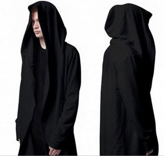 European New Fashion Street Men s hooded sweater long jacket Cardigan Cloak  Loose coat overcoat black M - XXXL ba3f29c12ccf